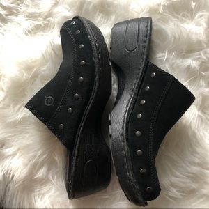 Born Black Suede Studded Cushioned Sole Clogs